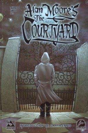 Reading books Alan Moore's the Courtyard