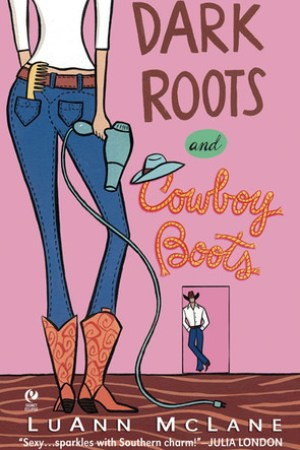 Reading books Dark Roots and Cowboy Boots