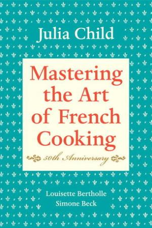 Reading books Mastering the Art of French Cooking