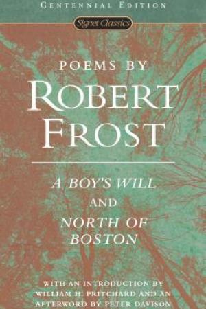 Reading books Poems by Robert Frost: A Boy's Will and North of Boston