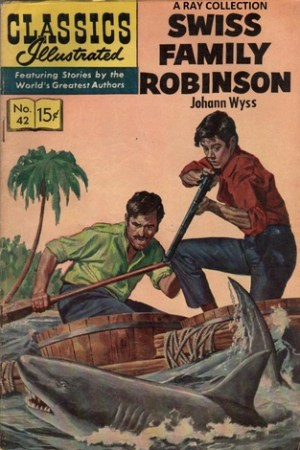 Reading books Swiss Family Robinson (Classics Illustrated 42 of 169)