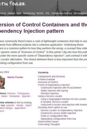 Reading books Inversion of Control Containers and the Dependency Injection pattern