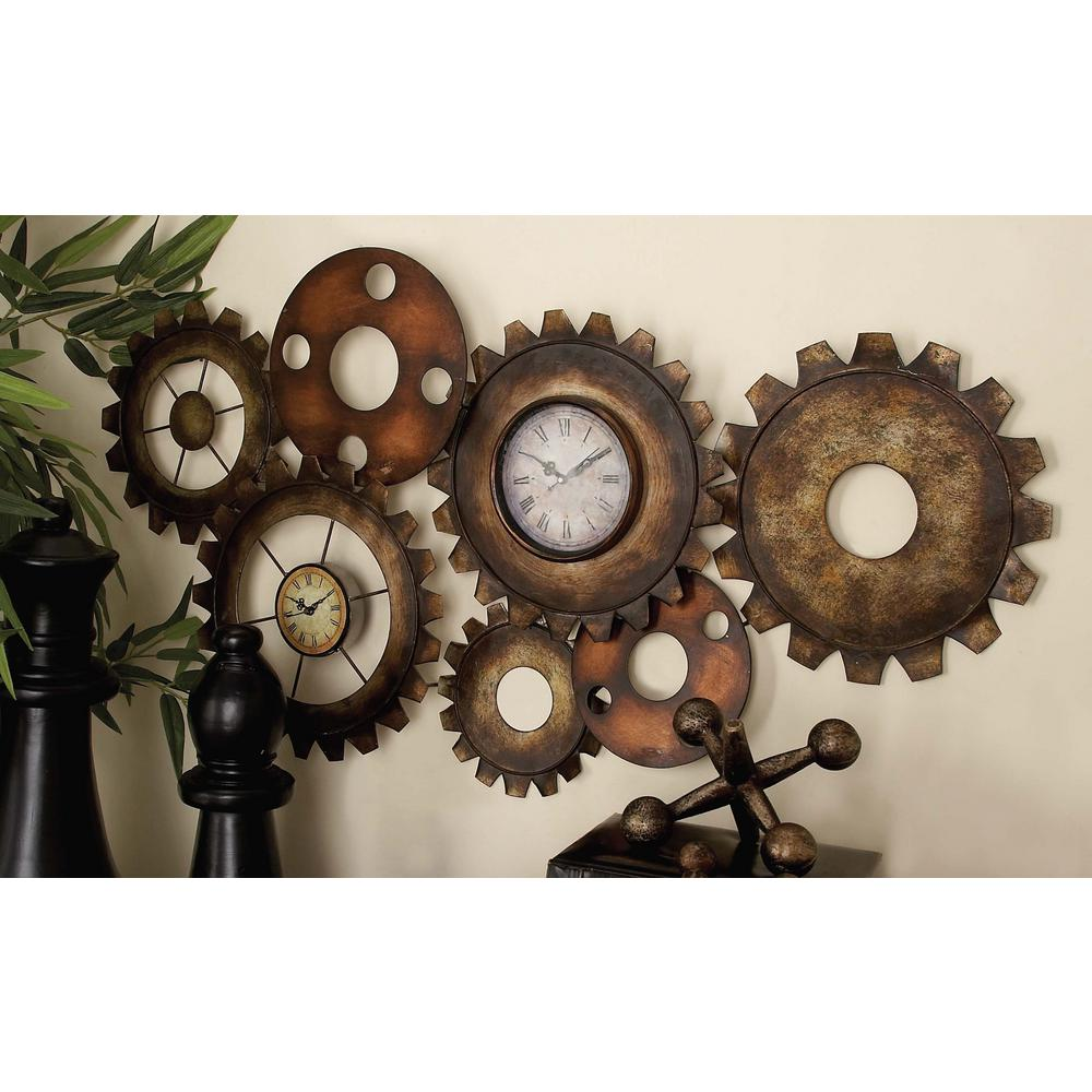 Joyous Distressed Large Wall Clock Exposed Gears Large Wall Clock Distressed Iron X Rustic Industrial Gears Wall Clock Rustic Industrial Gears Wall Clock Moving Gears furniture Large Wall Clock With Gears