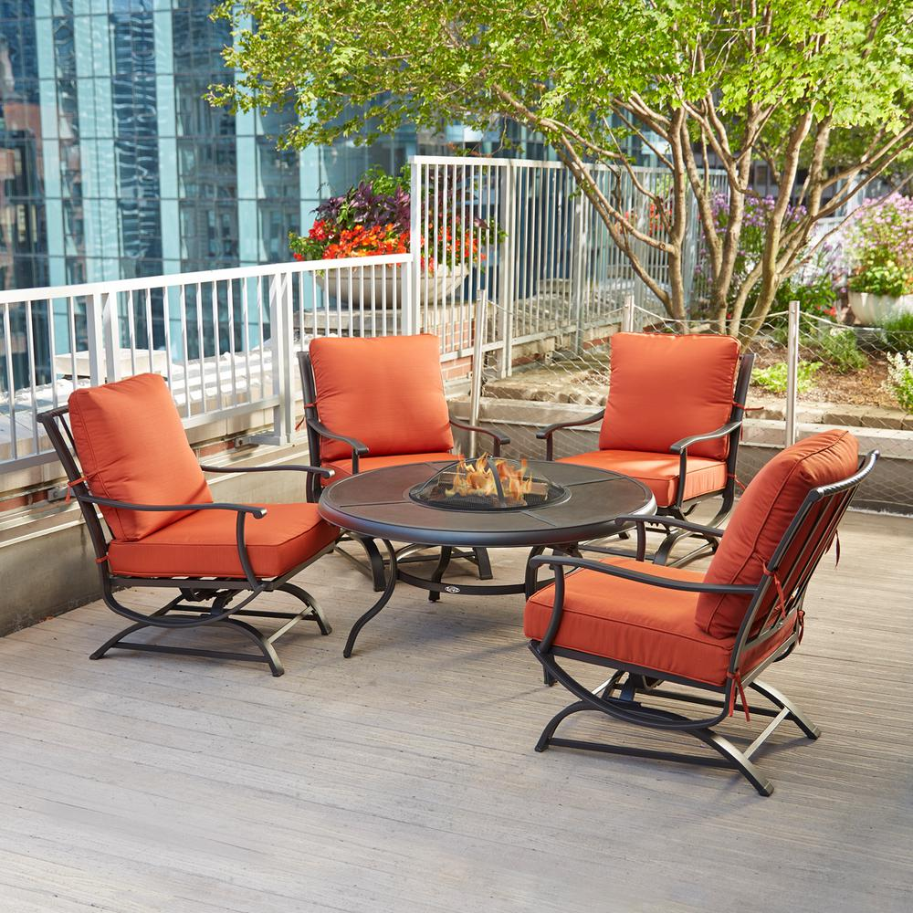Nifty Hampton Bay Redwood Valley Metal Patio Fire Pit Seating Set  Withquarry Red Hampton Bay Redwood