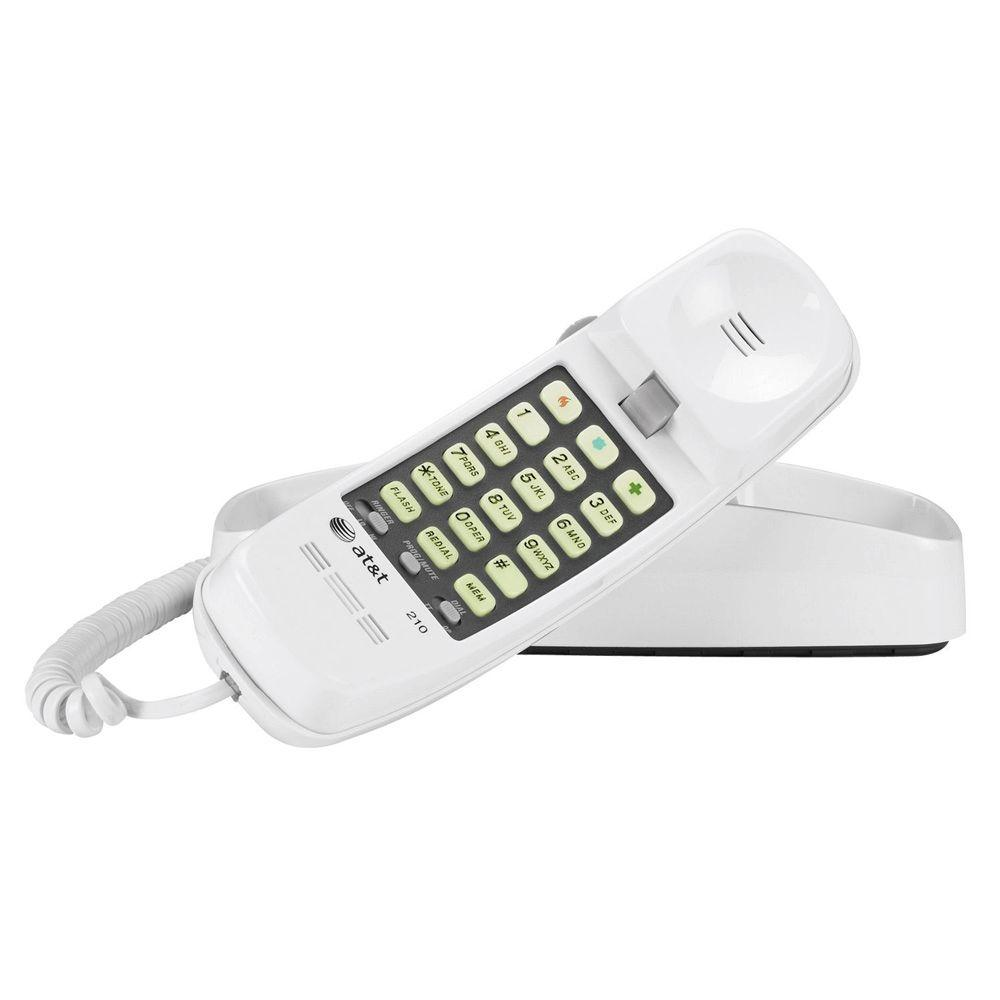 AT T Trimline Telephone With Memory   White TL 210 WH   The Home Depot AT T Trimline Telephone With Memory   White