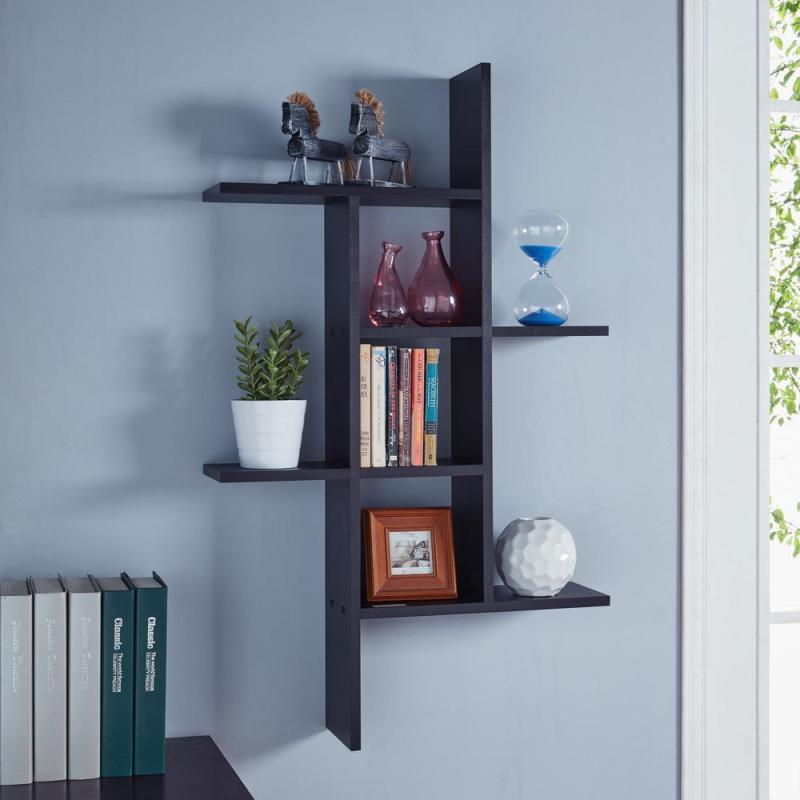 Unusual Cantilever Black Mdf Floating Wall Shelf Lewis Hyman W X D X H Espresso Mdf Large Floating Wall Mounted Bookshelf