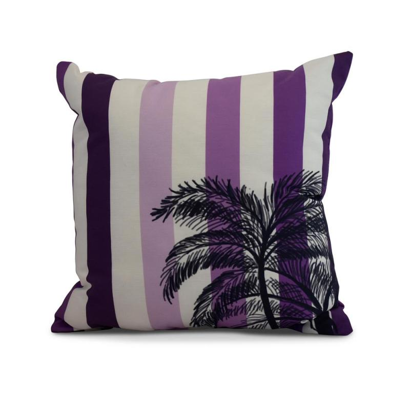 Affordable Purple Decorative Stripe Throw Pillow Thin Stripe Palm Unique Affordable Decorative Pillows