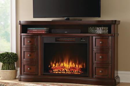 dark cherry home decorators collection fireplace tv stands bsf 1733 64 1000