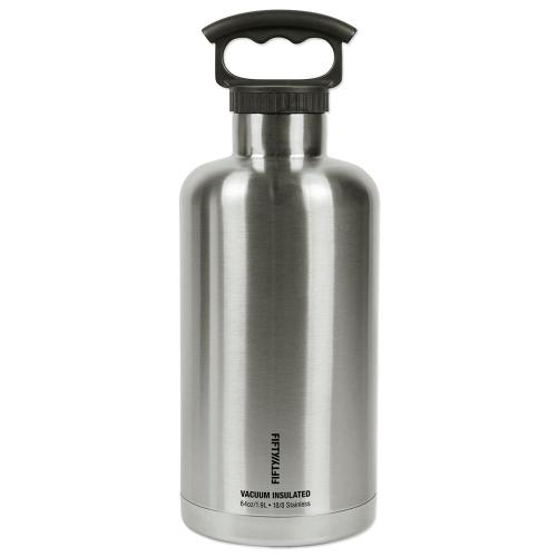 Impressive Sale Stainless Steel Growler Multi Fifty Fifty Beverage Jug Ers V65001ss0 64 1000 Stainless Steel Growlers Logo