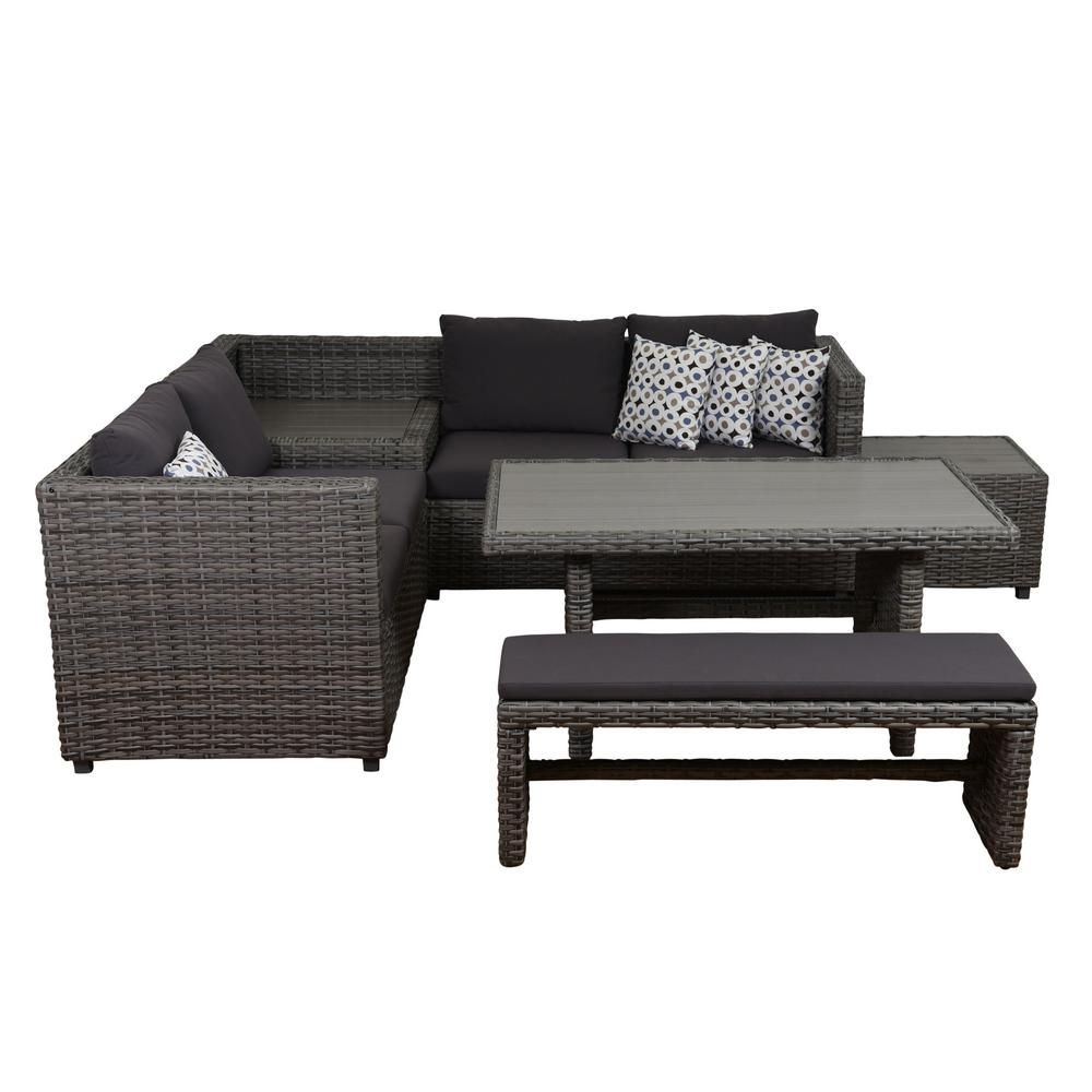 State Mustang Syntic Wicker Sectional Patio Set Grey Cushions Outdoor Sectionals Outdoor Lounge Furniture Home Depot Outdoor Sectional Sofa Plans Ana Outdoor Sectional Sofa Diy houzz-02 Outdoor Sectional Sofa