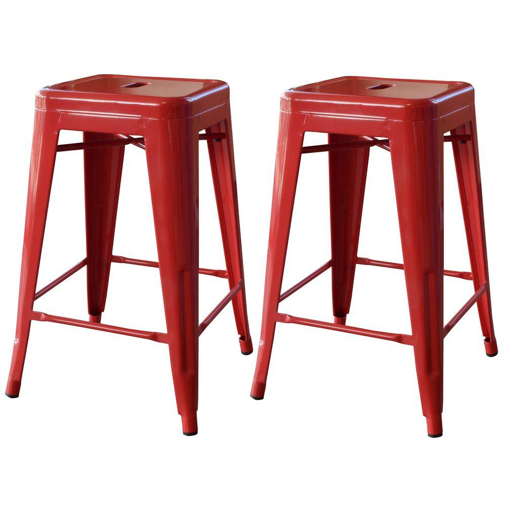 Stupendous Sale Metal Bar Stools 26 Inch Amerihome Loft Style Stackable Metal Bar Stool Red Metal Bar Stools Stackable Metal Bar Stool Red houzz 01 Metal Bar Stools