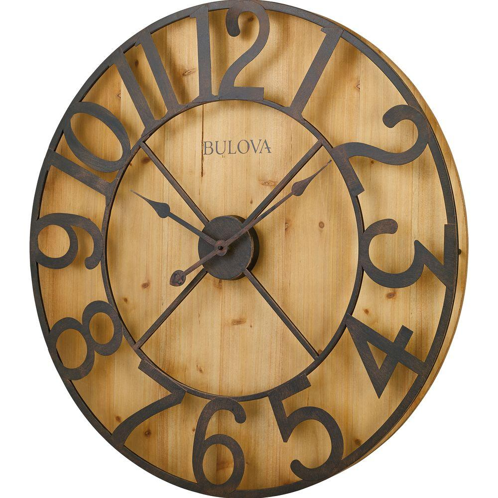 Unique W Round Gallery Wall Clock Knotty Pine Large Wall Clock Hobby Lobby Large Wall Clocks On Sale Knotty Bulova H X W Round Gallery Wall Clock houzz-02 Large Wall Clock