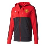 Manchester United 3 Stripe Hoodie - Red