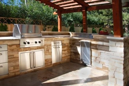 outdoor kitchen stone veneer arcadia design group 1144