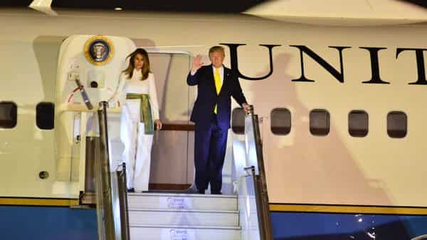 US President Donald Trump and his wife Melania Trump arrive at Delhi's Palam Air Force Station (Photo: Pradeep Gaur/Mint)