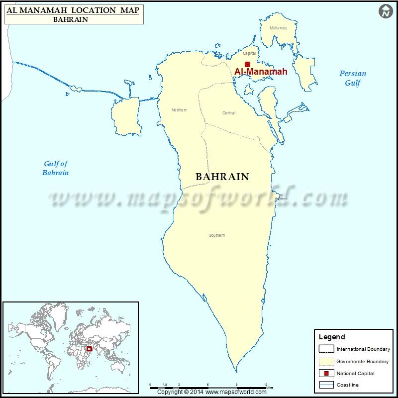 map showing bahrain