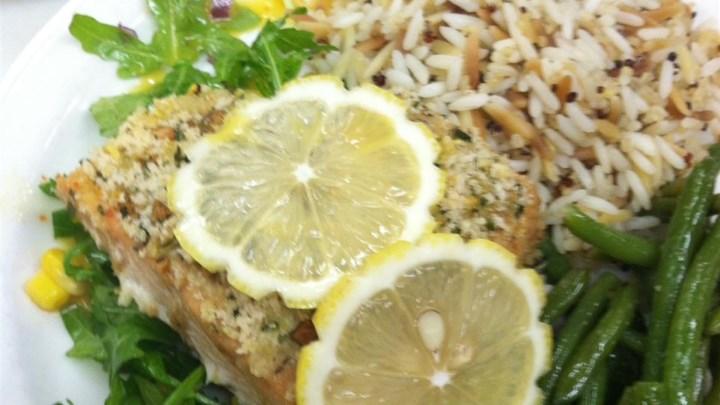 Paleo Lemon Panko Crusted Salmon