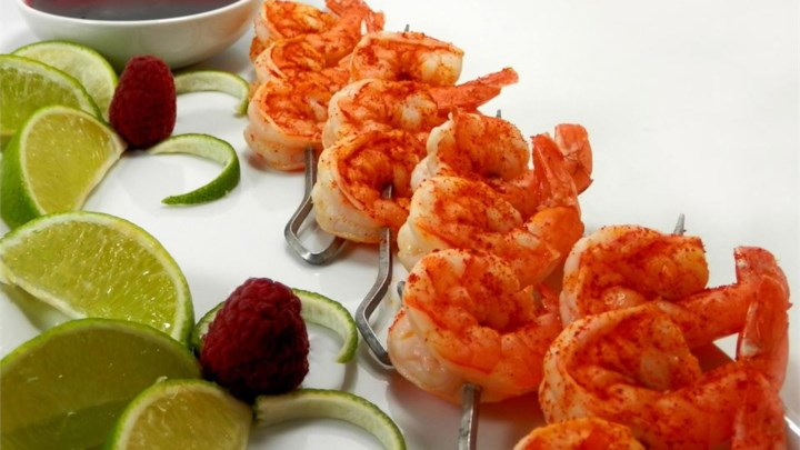 Paleo Butterfly Chili Lime Prawn Spedini with Raspberry Dipping Sauce