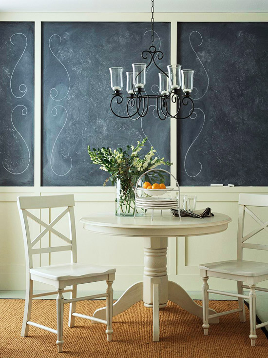 wainscot and chalk board