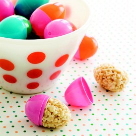 Rice cereal treats in plastic eggs