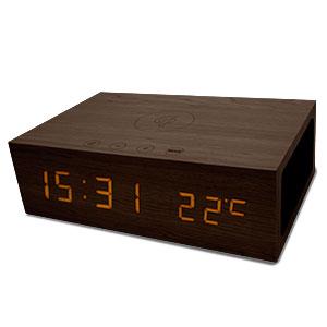 Qi-Tone Alarm Clock Bluetooth Speaker - Dark Wood