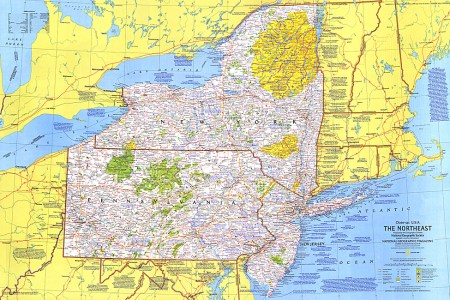 close up usa, northeast map
