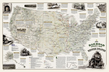 railroad legacy map of the united states [laminated]