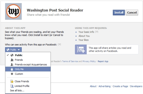 timeline privacy settings washingtonPost