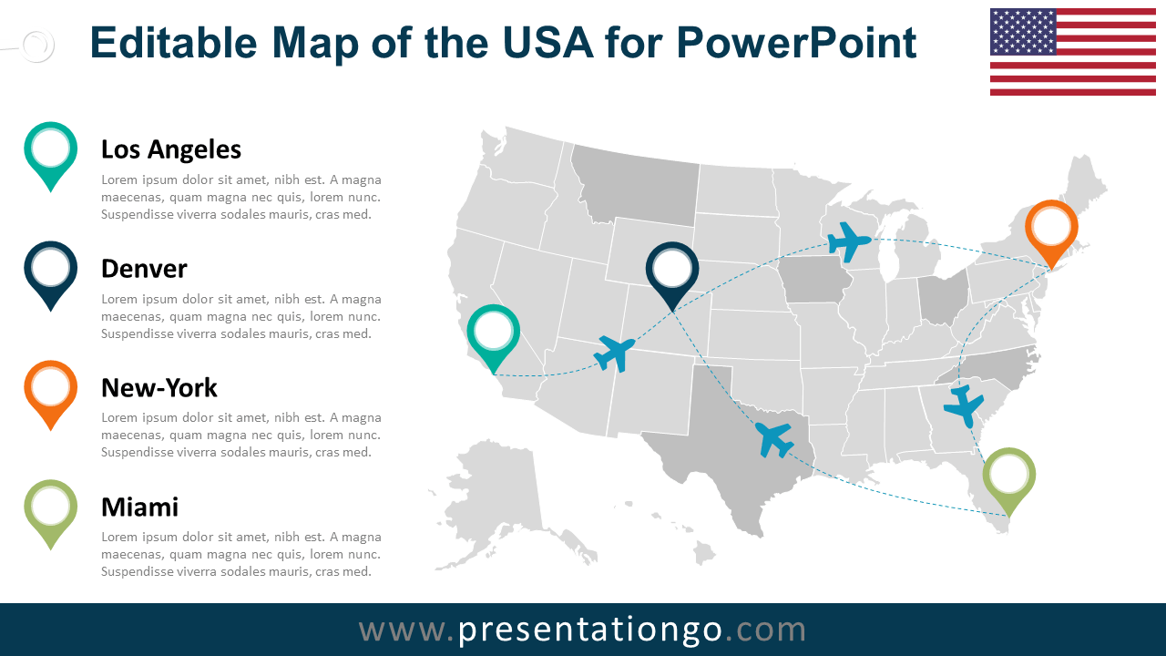 Free PowerPoint Maps Of USA Editable US Map Template For - Microsoft us map template