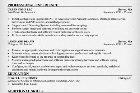 computer technician sample resume sample resume for computer technician