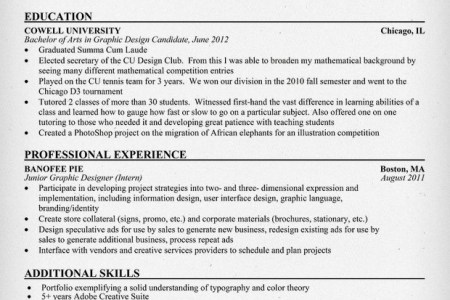 entry level graphic designer example resume