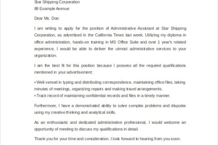 Administrative Professional Cover Letter. Big Grants