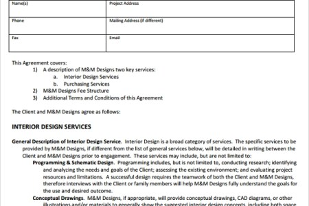 interior design service agreement proposal template