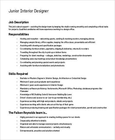 ... Junior Interior Designer Job Description ...