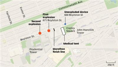 Boston Marathon bombing: where it happened
