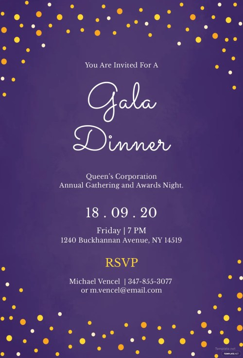 Medium Of Dinner Invitation Template