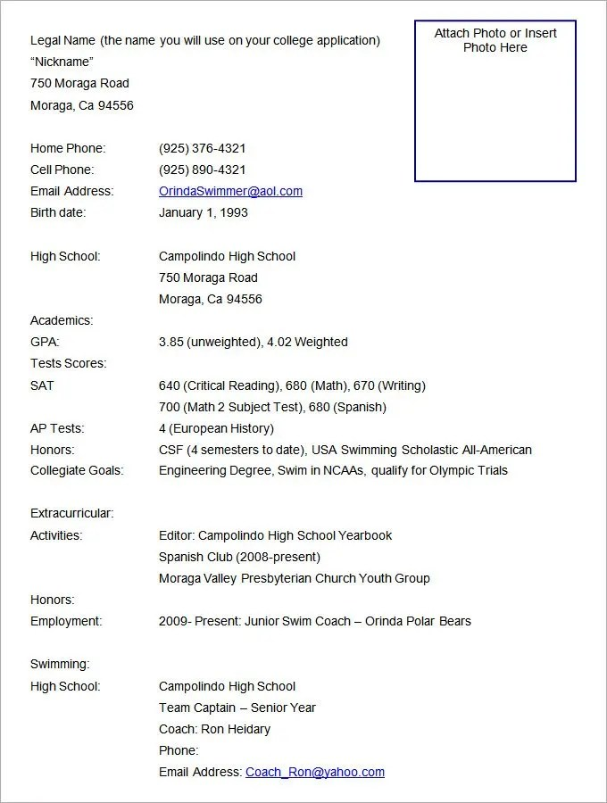 100 Sports Resume Format Athletic Resume Template Free