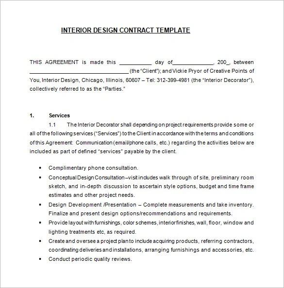Interior Design Contract Template. Writing Your Interior Design ...