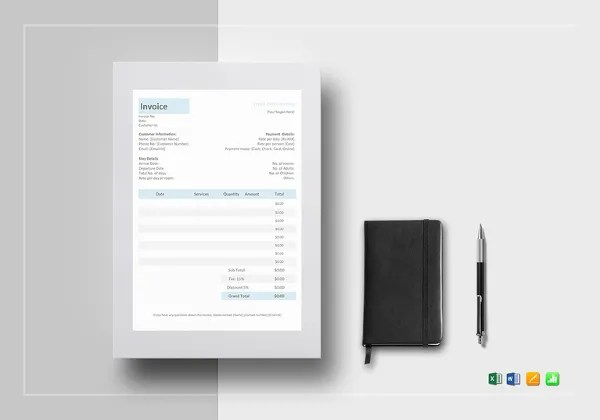 Hotel Invoice Templates   15  Free Word  Excel  PDF Format Download     hotel invoice template  Download