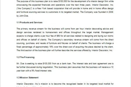 free interior business plan template