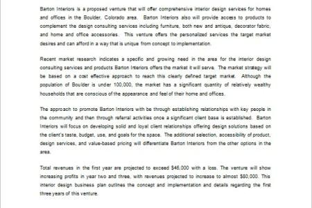 business plan interior design