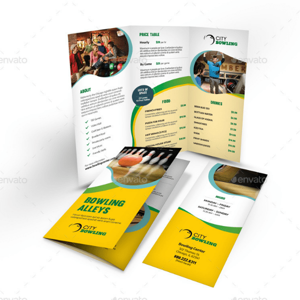 9  Bowling Brochure Designs   Templates   PSD  AI   Free   Premium     Bowling Alley Trifold Brochure Template