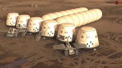 An artist's rendering showing what a human colony on mars could look like.