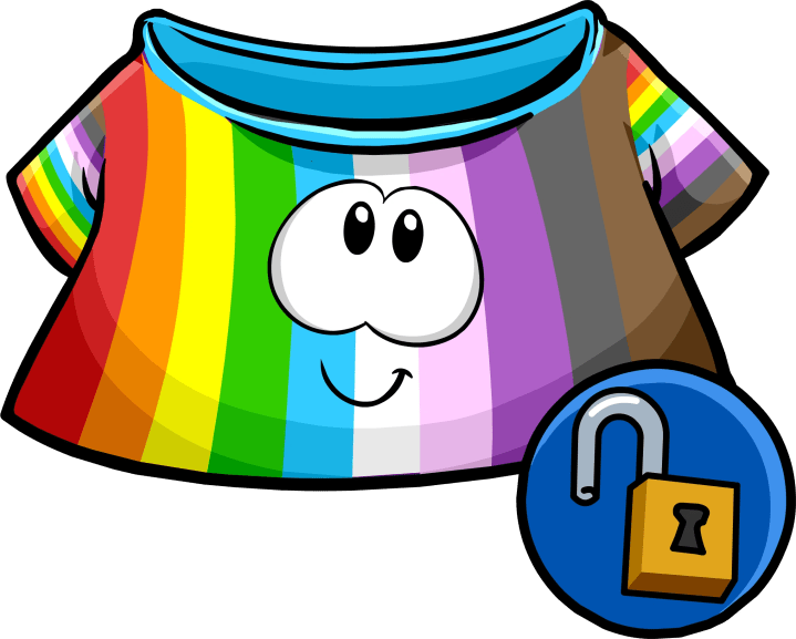 Item of the day 13 rainbow puffle shirt club penguin puffle adder 2015