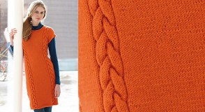 Une robe orange a torsades by Coats Design Team, copyright by Coats