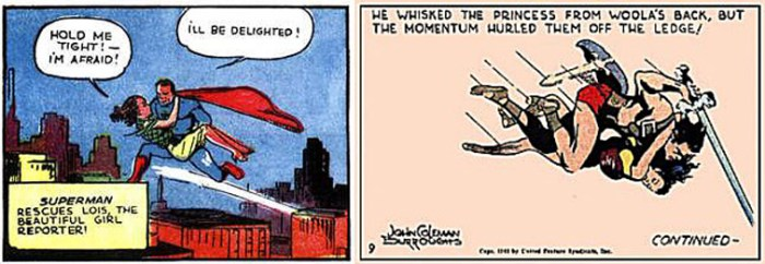 Siegel/Shuster, Superman, 1938. Burroughs/Burroughs, John Carter, 1941.