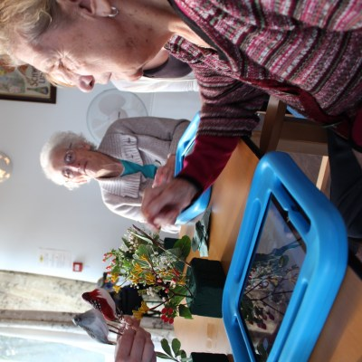 Older residents in a care home using ipads