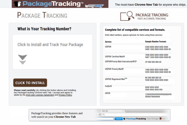 PackageTracking Toolbar