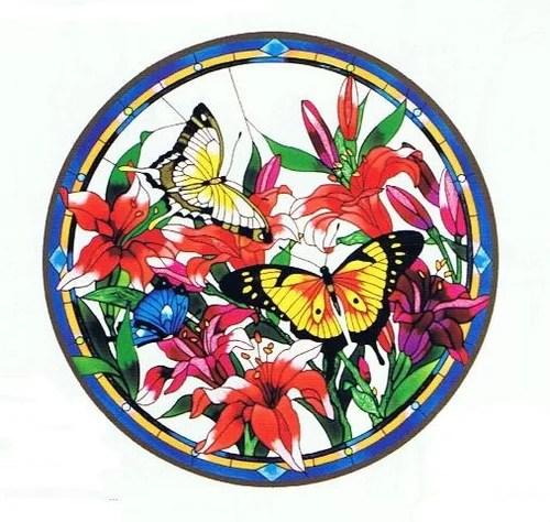 цветы и бабочки для витражной росписи