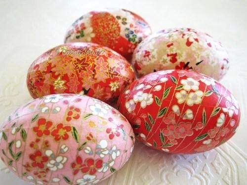 пасхальные яйца с цветами декупаж